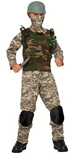 (9-teiliges Combat Trooper Jungen Kinder-Kostüm Soldat Army Soldier Armee Militär Camouflage Tarnfarbe Camo, Größe:M - 8 bis 10 Jahre)