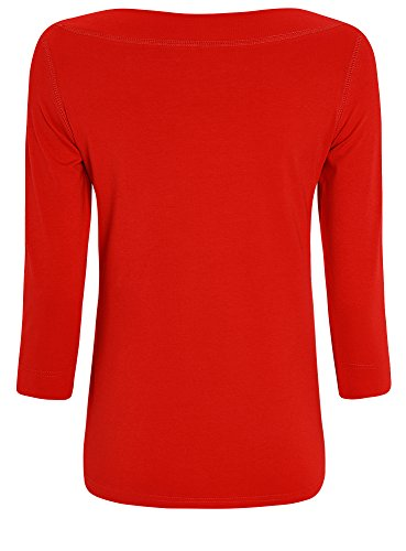 oodji Collection Damen Tagless T-Shirt mit 3/4-Ärmeln Rot (4500N)