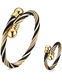 Aruie Set Open Ring Bracelet Braid Ring Ring Ring Pearl Jewelry Sets Gold Tricolour Cool Stainless Steel Gift Women Ladies