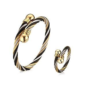 Aruie Set Schmuckset Ring Armband Armband Schnur Ring Ring Ring Ring Ring Geflochten Perle Gold Tricolor Ouvert Cool Edelstahl Geschenk Damen Damen Damen