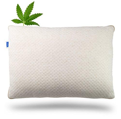 Vitapur Kopfkissen mit Hanffaser 50x70cm - Cannabis Schlafkissen mit Innovative Airflow Technologie - Extra Weich Polster für alle Schlafpositionen (Vitapur Cannabis) -