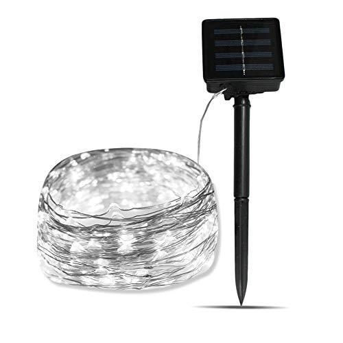 Axspeed Solarbetriebene Lichterkette für den Innen- und Außenbereich, 72 m, 200 LEDs für Halloween, Weihnachten, Party, Terrasse, Garten Dekoration weiß