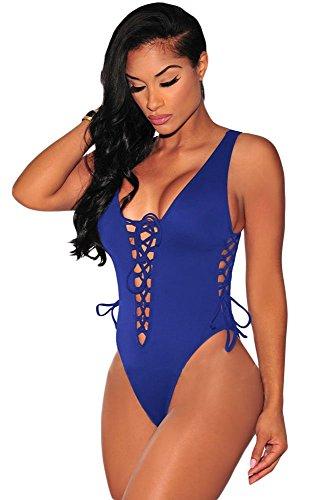 Nuovo da donna Pretty Lace Up Sexy nero/grigio a maniche lunghe Stretch Swimsuit Teddies Ballerina Body Pole Dancer camera da letto Outfit Taglie 6–12 Blue