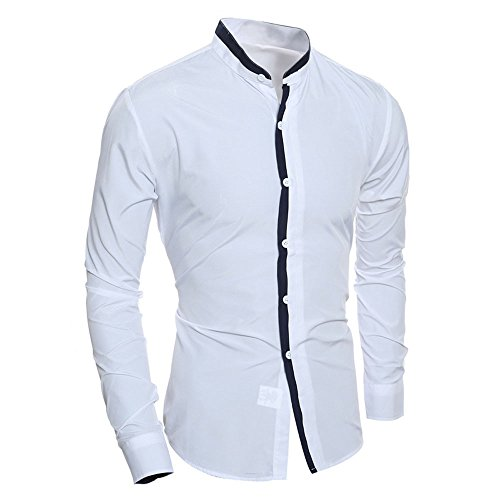 (UJUNAOR Herren Hemd umweltfreudlich Elastisch Freizeit Hochzeit Reine Farbe Hemd Kurzarm Herren-Hemd Herren Langarm Freizeithemden)