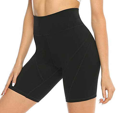 JOYSPELS Kurze Sporthose Damen High Waist Yoga Sport Shorts Leggings Sommer Leggins Kurze Radlerhose Yogahose für Sport Gym Bike Sweat Schwarz S