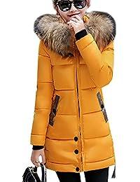 bebd9969583a Magike Manteau Chaud Doudoune Femme Veste Capuche Fourrure Faux Long Hiver  Jacket Blouson Causal Marron