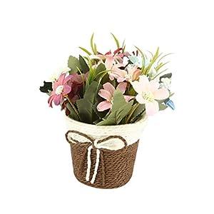 Homeofying – Jarrón de mimbre artificial con maceta de flores artificiales para decoración de bodas, fiestas y bricolaje…