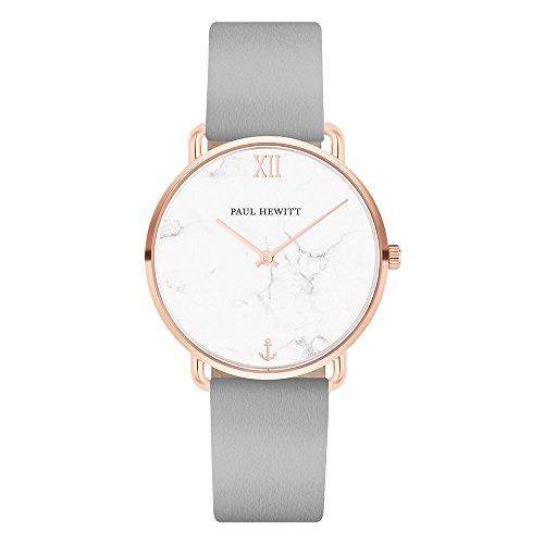 PAUL HEWITT Armbanduhr Damen Miss Ocean Marble - Damen Uhr (Rosegold), Damenuhr mit Lederarmband (Graphite), Ziffernblatt im Marmor-Style