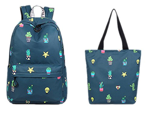 Niedliches wasserdichtes Gewebe-Frauen-Rucksack-Kaktus-Topfpflanzen-Muster, das große Kapazitäts-Mädchen Daypacks druckt Nacy blue set 14 Inches