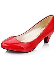 Ei&iLI Mujer-Tacón Bajo-Tacones-Tacones-Casual-Cuero Patentado-Negro / Rojo , red-us5.5 / eu36 / uk3.5 / cn35 , red-us5.5 / eu36 / uk3.5 / cn35