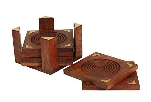 Fine Polished Set of 6 Hand Carved Wooden Drink Square Coasters & Holder with Beautiful Brass Inlay Barware & Kitchen Tabletop Accessory Home Living room Decor by Store Indya by Store Indya - Carved Wooden Coaster