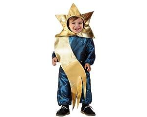 Atosa-17256 Atosa-17256-Disfraz Estrella niño bebé-talla 0 a 6 meses dorado-Navidad, color (17256)
