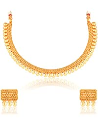 Meenaz Fashion Jewellery Gold Plated Jewellery Set For Womens With Ear Rings For Girls Party Wear Traditional...