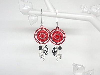 Boucles d'oreilles rosaces rouges noires feuilles tendance moderne chic mariage cérémonie création Odacassie