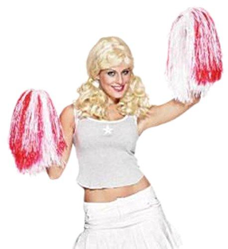 erdbeerclown- Damen Mädchen Cheerleader Pom Pom, Kostüm Zubehör, 35 cm, Rot-Weiß