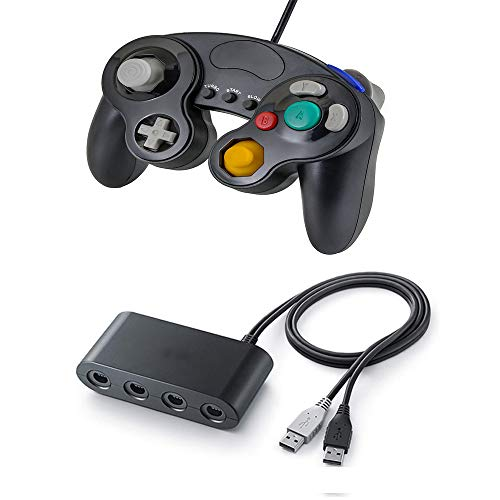 Gamecube Controller und Controller (schwarz), für N-Switch/Smash Bros, kompatibel mit PC Wii und Wii U Adapter and Controller
