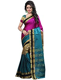 J B Fashion Women's Silk Rama-rani Saree With Blouse Piece