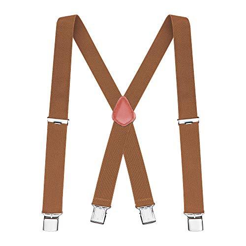 Buyless Fashion verstellbare und elastische Herren X-Hosenträger 1,2 Meter - 3 cm breit - Metallclips - 5114 Farbe: Camel