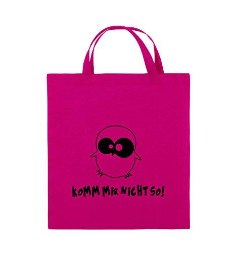 Comedy Bags - Komm mir nicht so! - EULE - Jutebeutel - kurze Henkel - 38x42cm - Farbe: Schwarz / Pink Pink / Schwarz