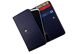 ATV PU Leather Yale BLUE Pouch Case Flip Cover For Lava Iris X8
