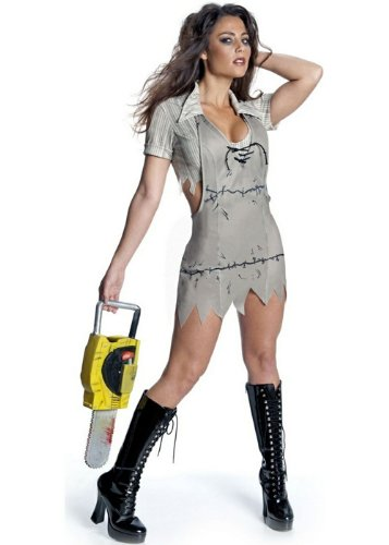 cre - Miss Leatherface Horrorkostüm Damen, 3-teilig - XS (Texas Chainsaw Massacre Leatherface Maske)