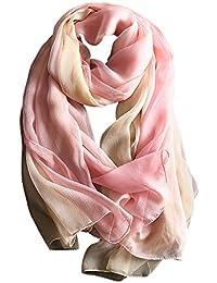 7266b719e58f W.Best Femme Foulard 100% Soie Grande Echarpe Châle Ultra-Léger Respirant  Elégant