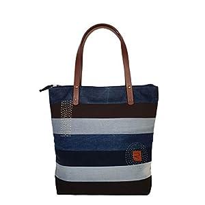 Denim Tasche Damen, Stilvolle Schultertasche Damen, Shopper Damen groß mit Stickerei, Leichte Handtasche Damen, Damen…