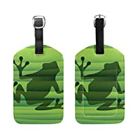 BENNIGIRY Abstract Green Frog Silhouette Luggage Tags Travel Labels Tag Name Card Holder for Baggage Suitcase Bag Backpacks, 1 PCS