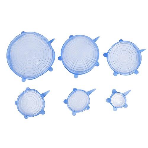 Silikon-Stretch-Deckel, 6er verschiedene Größen Silikon Stretch Deckel für Schüssel, Dosen, Glas, Food Saver Covers, in der Mikrowelle Spülmaschinenfest und gefriergeeignet, halten Sie frisch- und lecker blau (Hundefutter 8 Dosen)