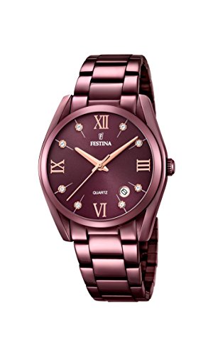 Festina Damen Analog Quarz Uhr mit Edelstahl Armband F16865/3