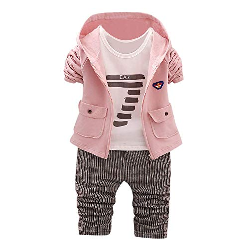 Yter Jungen Bekleidungs-Set für Neugeborene, Babys, Mädchen, Jungen, Coole, solide Jacke, Mantel, Buchstabendruck, Hemd, Lange Hose, Mädchen Kleidung, Rose, 6-12 Monate