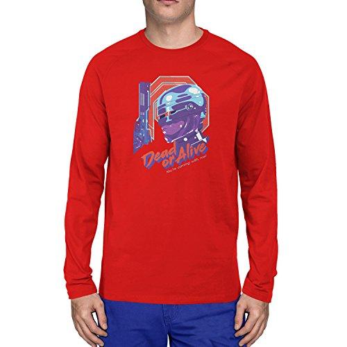Planet Nerd - Dead or Alive - Herren Langarm T-Shirt, Größe XXL, rot (Starship Trooper Kostüm)