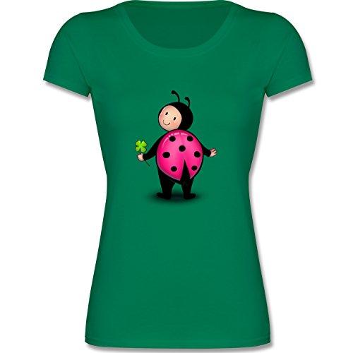 Tiermotive Kind - Marienkäfer - 140 (9-11 Jahre) - Grün - F288K - Mädchen T-Shirt (Für Marienkäfer-kostüm Teenager)