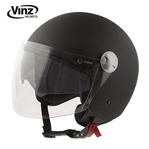 Vinz Motorradhelm Rollerhelm Jethelm Jet Helm mattschwarz in Gr. XS-XL | Helm mit Visier und Sonnenblende | ECE zertifiziert (M)