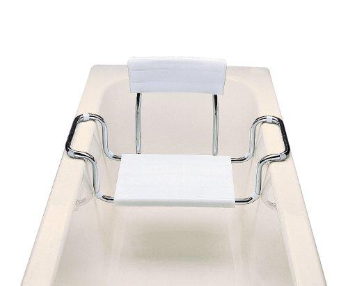 Aris 2114 - Badenwannensitz Mit Rückenlehne - Verchromte Stahlstruktur Und Polypropylen - Made in Italien - Farbe Weiß