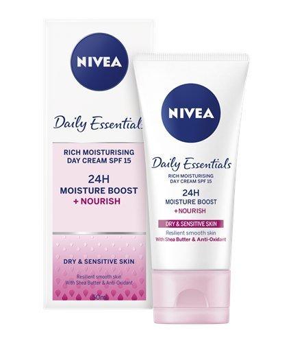 Nivea Visage - crème de jour hydratante riche journée - pour peaux sèches et sensibles FPS 15 -...