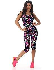 Mujer Fitness Zweiteiler de deportes Top y deportes Leggings Capri (3/4) como Fitness-Traje de talla S de l, carbón