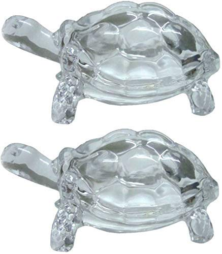 NYGT Schildkröte Schildkröte Glas Statue Vastu Original Clear Crystal Turtle glückliches Geschenk der guten Gesundheit für Frieden & Wohlstand Set von 2