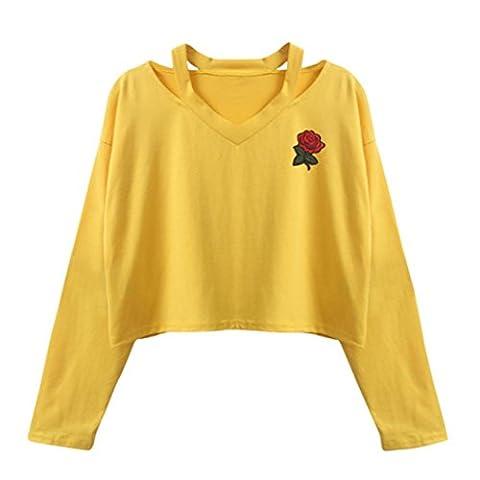 Keepwin Damen Langarm Pullover Frauen Herbst Stickerei Mode Sweatshirt Rose Print Causal Tops Bluse (S, (Zurück Pullover)