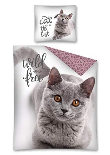 Sweet Animal Bettwäsche Katze Wild & Free Wendebettwäsche 100 {acbf84c0c5365a8b7c654f8c1639622f27870f079d60a9da6a443510bc620922} Baumwolle, 140 x 200 cm, 70 x 80 cm