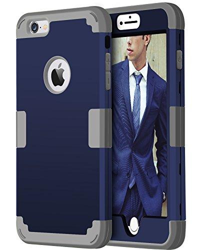 BENTOBEN iPhone 6s Plus Funda, iPhone 6 Plus Funda 3 en 1 Carcasa Combinada PC Híbrido y TPU Silicona Suave Resistente PC Bumper Cubierta Protectora Funda para iPhone 6 Plus/6s Plus (5.5'') Azul