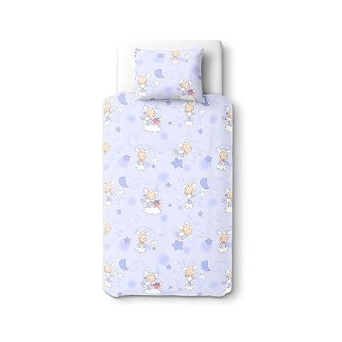Les agneaux Bleu - SoulBedroom Linge de lit pour bébé (Housse de couette 100x140 cm et Taie d'oreiller - 100% Coton)