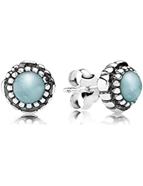 Pandora Damen-Ohrstecker 925 Sterling Silber Aquamarin Stories blau 290543AQ