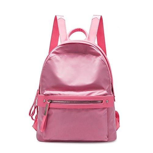 CLOTHES- Borsa a tracolla di nylon Oxford del sacchetto dello zaino dello zaino selvaggio dello zaino di legno coreano del sacchetto di scuola ( Colore : Nero ) Rosa