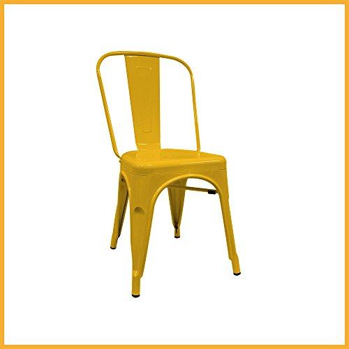 Silla Industrial - Silla metálica - silla metal inspirada en silla tolix pauchard - (Elige tu color) (Amarilla)