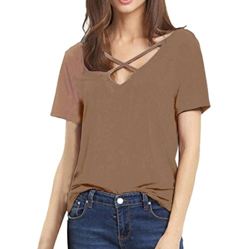 TWIFER Damen Sommer V Ausschnitt Bluse Mädchen Tees T-Shirts Tops (S-3XL) (Twin-top-zip)