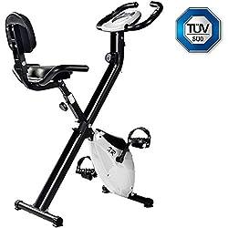 Merax Heimtrainer f Bike klappbar, 8 Widerstandsstufen, ergometer x-Bike Fahrrad Basics mit Komfortsattel/Handpulssensoren/Trainingscomputer,Sicherheit geprüft,weiß