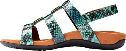 Vionic Womens 44 Rest Amber Synthetic Sandals Teal Snake