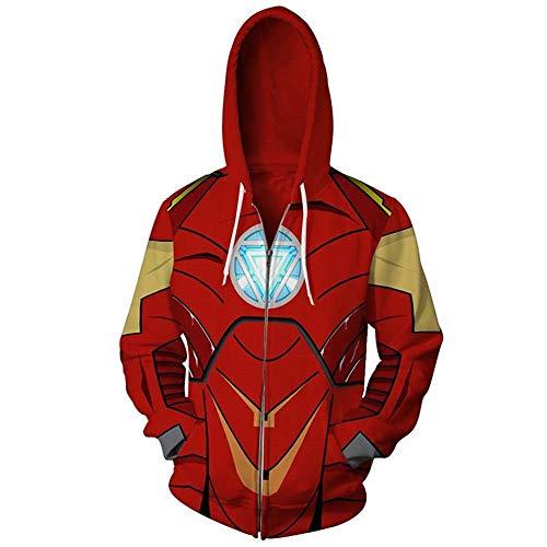 Zhuwy Herren 3D Druck Hoodie Kapuzenpullover Tunnelzug Pullover Langarm Sweatshirt Unisex Kapuzenjacke Mit Taschen XL Iron Man Zipper -