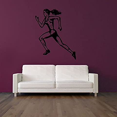 Runner Femminile Wall Sticker Atletica Adesivo Art disponibile in 5 dimensioni e 25 colori Extra Grande Bianco - Adesivo Runner